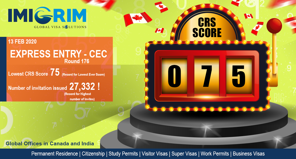 CRS – Score 75 ! Largest Ever EE Draw.